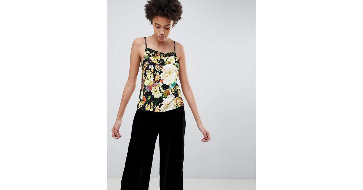 minimum floral cami top in black lyst