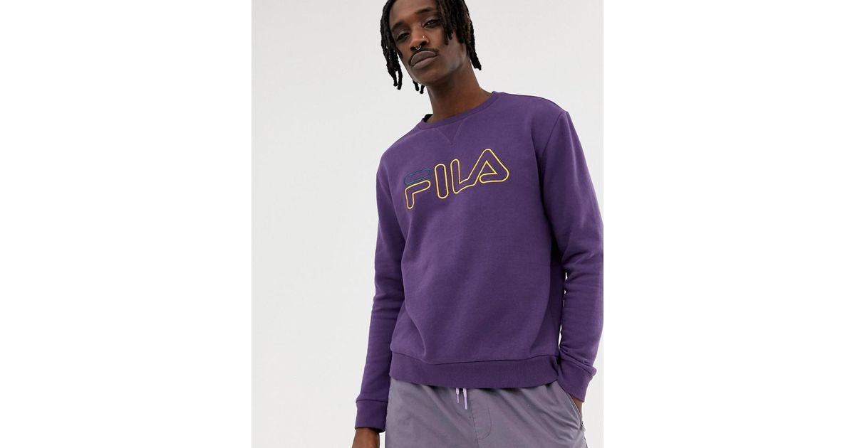 7edb94edb3d3 Lyst - Fila Black Line Basil Sweatshirt With Logo In Purple in Purple for  Men