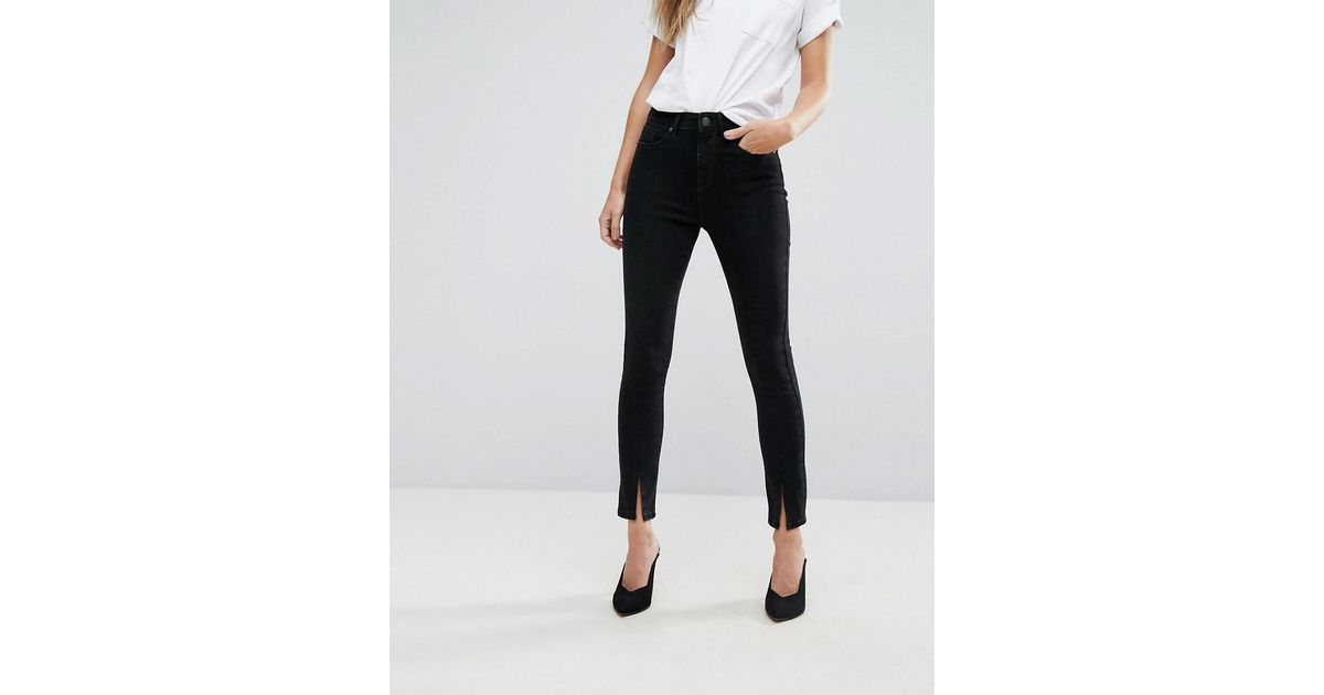 Split Hem Detail Trousers - Black Vero Moda kOvH12n2e