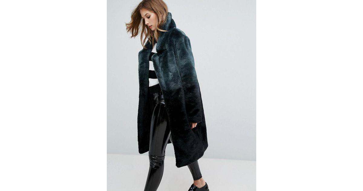 c184c18abc06 Urbancode Ombre Faux-fur Longline Coat in Black - Lyst