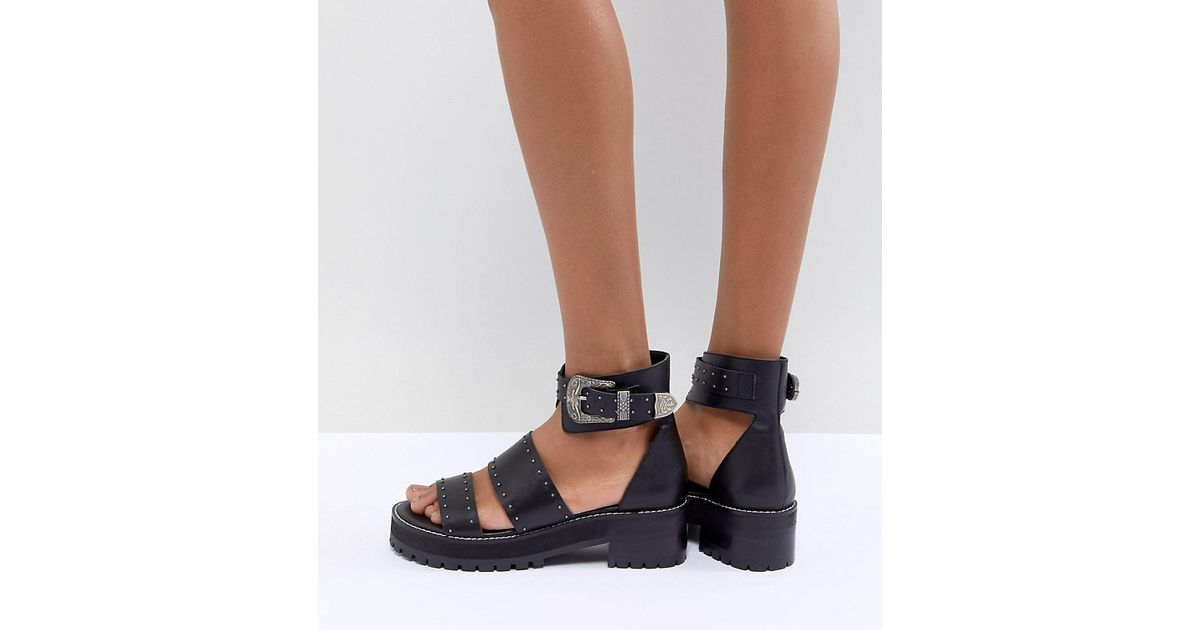 525a08e390 ASOS Foxglove Premium Leather Gladiator Flat Sandals in Black - Lyst