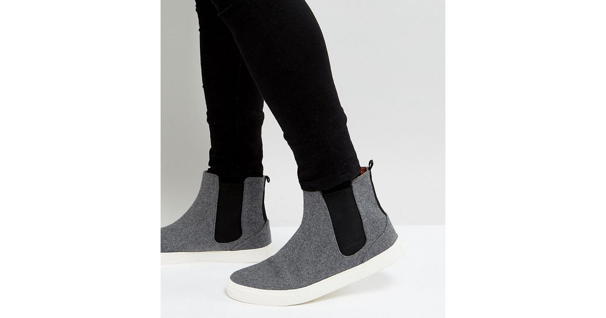 Wide Fit Chelsea Trainers In Grey Warm Handle - Grey Asos f5V3B