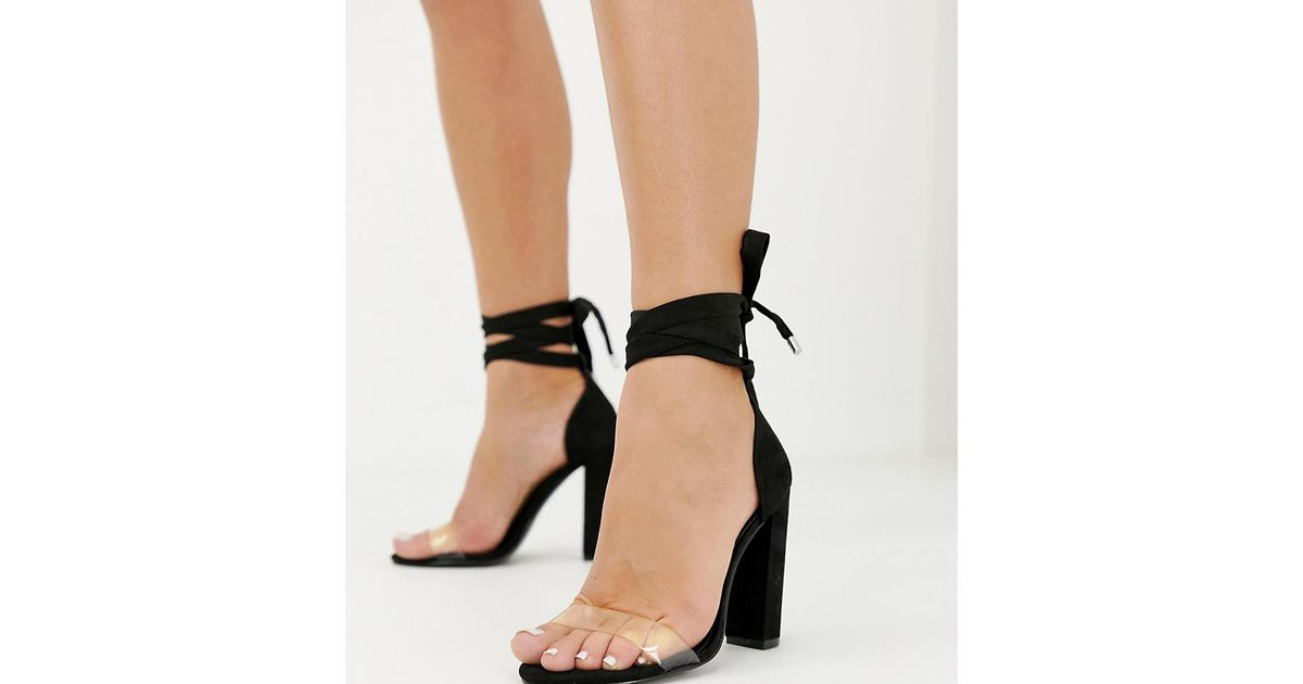 272d6ba5238 Lyst - ASOS Wide Fit Witness Clear Barely There Block Heeled Sandals in  Black