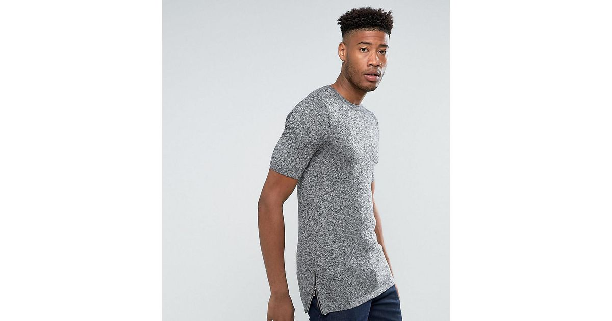 TALL Muscle Longline T-Shirt With Curved Bound Hem And Roll Sleeve In Twisted Rib - Grey Asos Sale Low Cost 3Iwn3PBQVY
