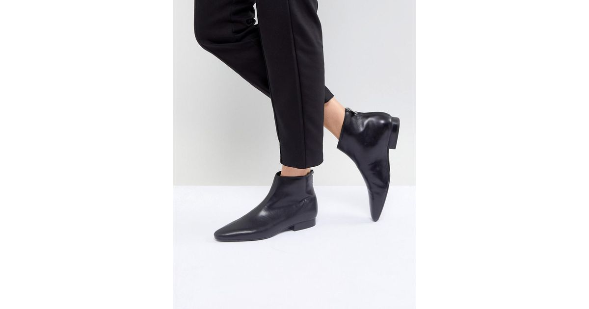 MANGO Leather Flat Pointed Toe Ankle Boot 83nhBYpj