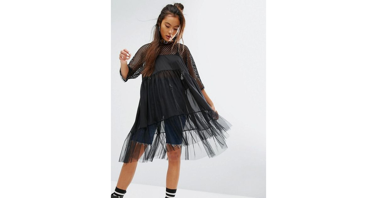 4b39fa5c214 The Ragged Priest Sheer Smock Dress With Mesh   Fishnet Tiers in Black -  Lyst