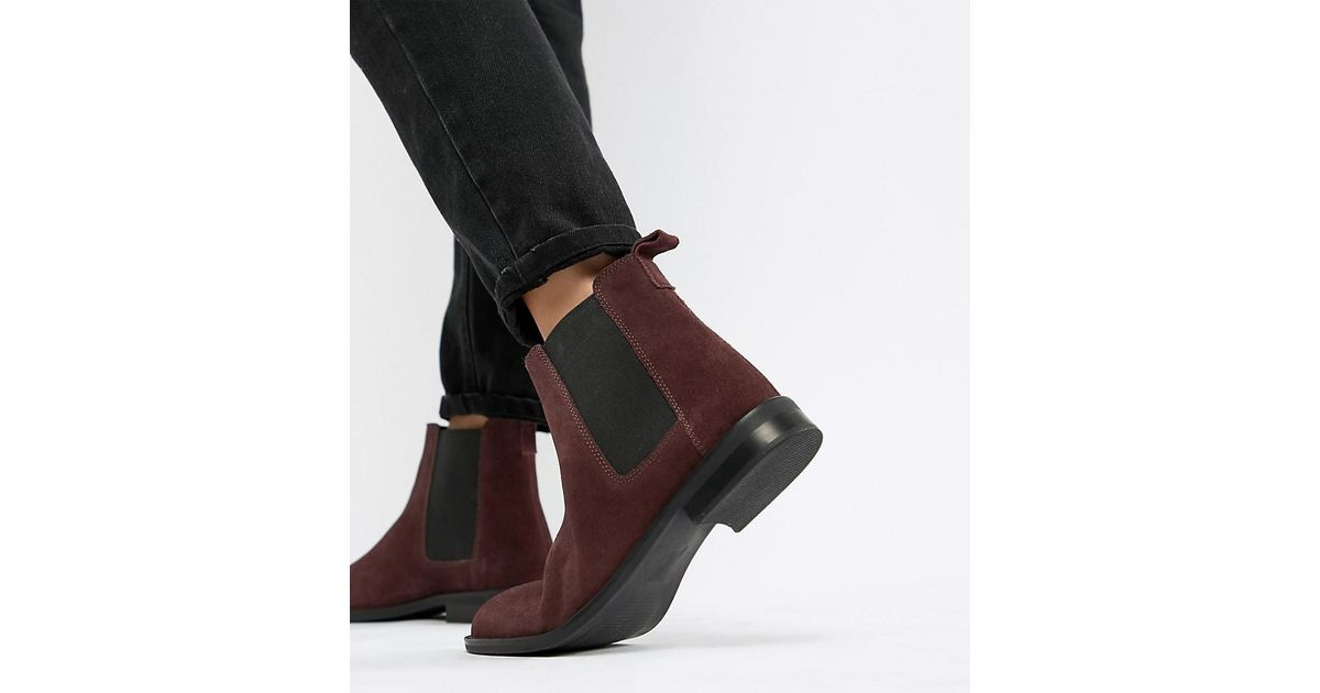 6937b5806c94 ASOS Wide Fit Aura Suede Chelsea Ankle Boots in Red - Lyst
