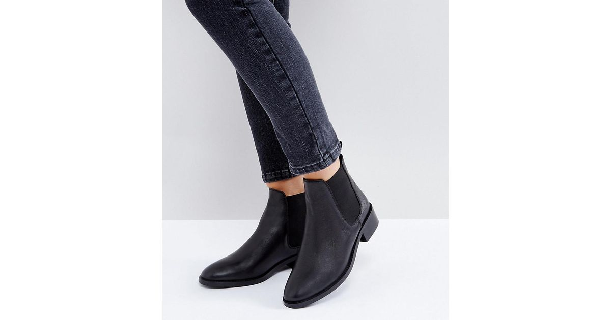5250bc91dd09 ASOS Asos Absolute Wide Fit Leather Chelsea Ankle Boots in Black - Lyst