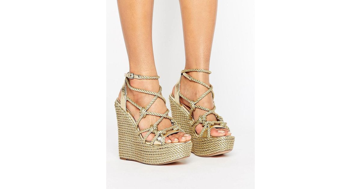 d8349fe34ed Lyst - KG by Kurt Geiger Kg By Kurt Geiger Notty Stacked Wedge Sandals in  Metallic