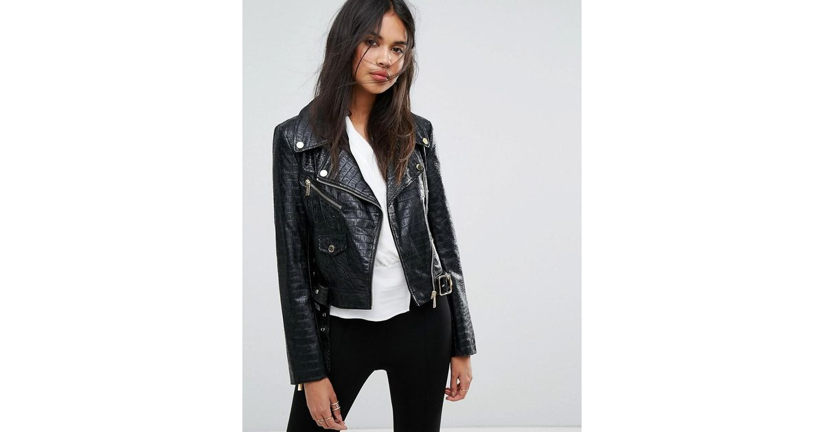a02db98aa155 Ivyrevel Faux Snake Skin Biker Jacket in Black - Lyst