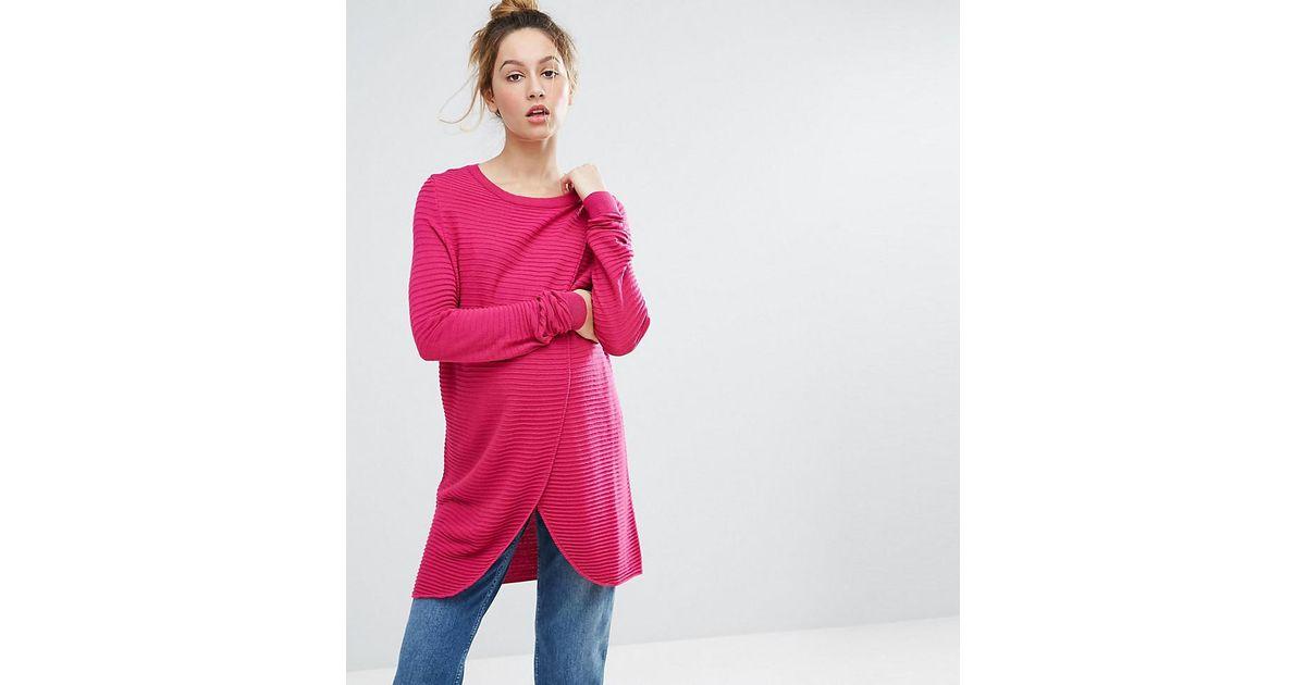 7c12bbe240f48 Lyst - ASOS Nursing Wrap Over Jumper In Textured Stripe in Pink