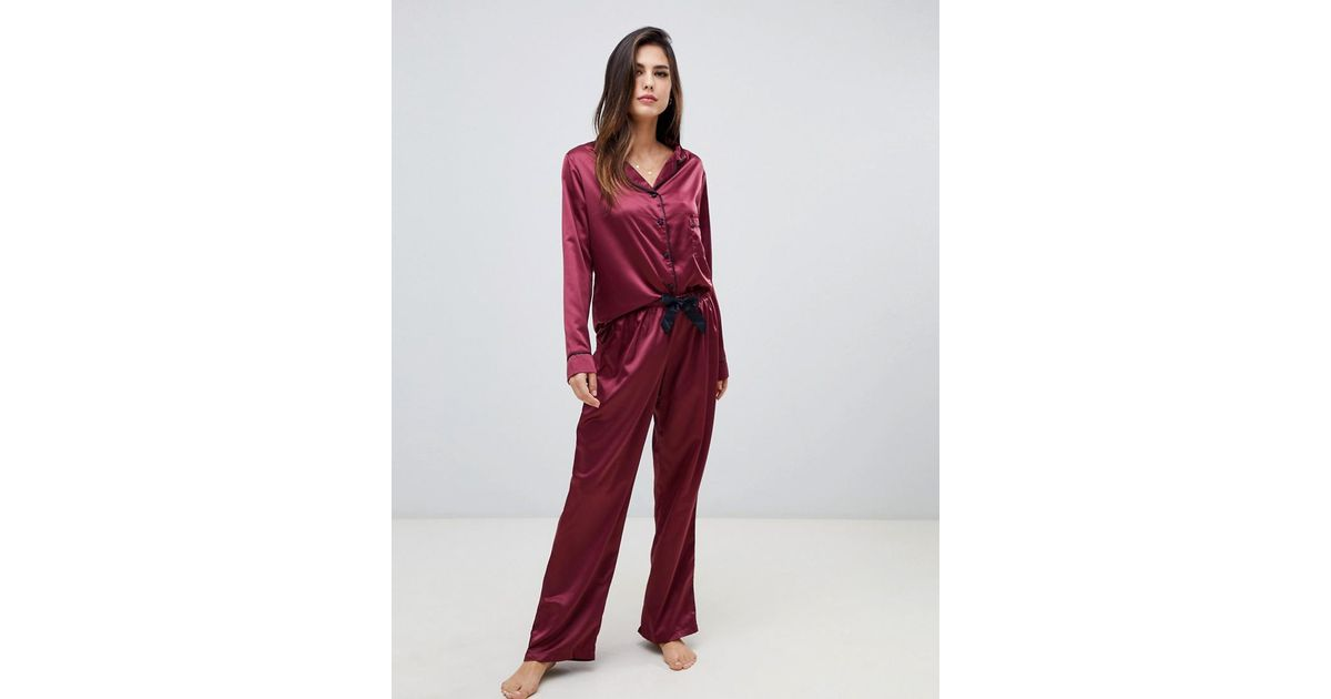 de48d2e04f Lyst - Bluebella Claudia Long Shirt And Pants Pyjama Set In Red in Red