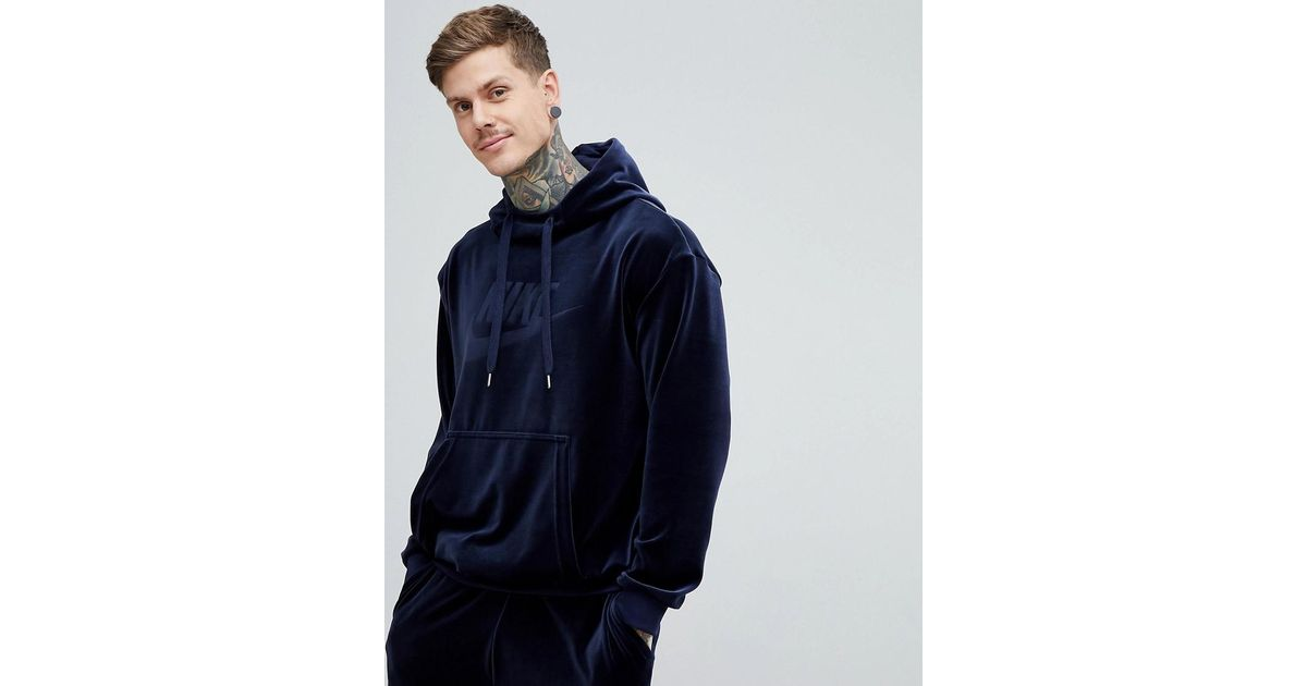 Lyst Pullover 451 For Ah3384 Navy Nike Blue In Men Velour Hoodie UCw45fq