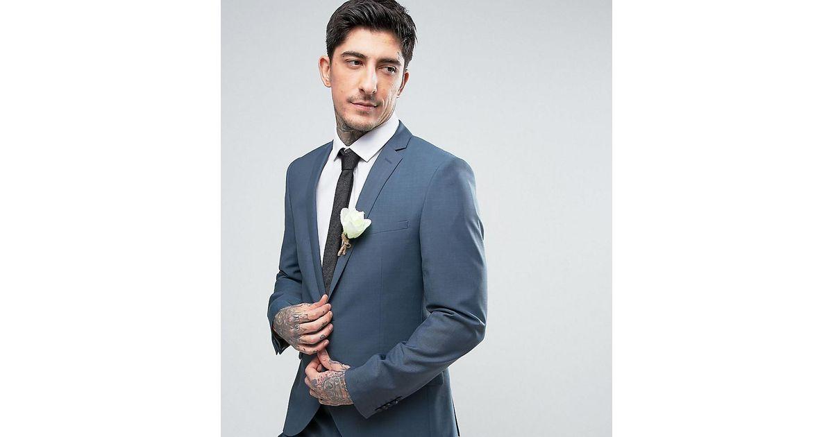 Lyst - Heart & Dagger Skinny Summer Wedding Suit Jacket in Blue ...