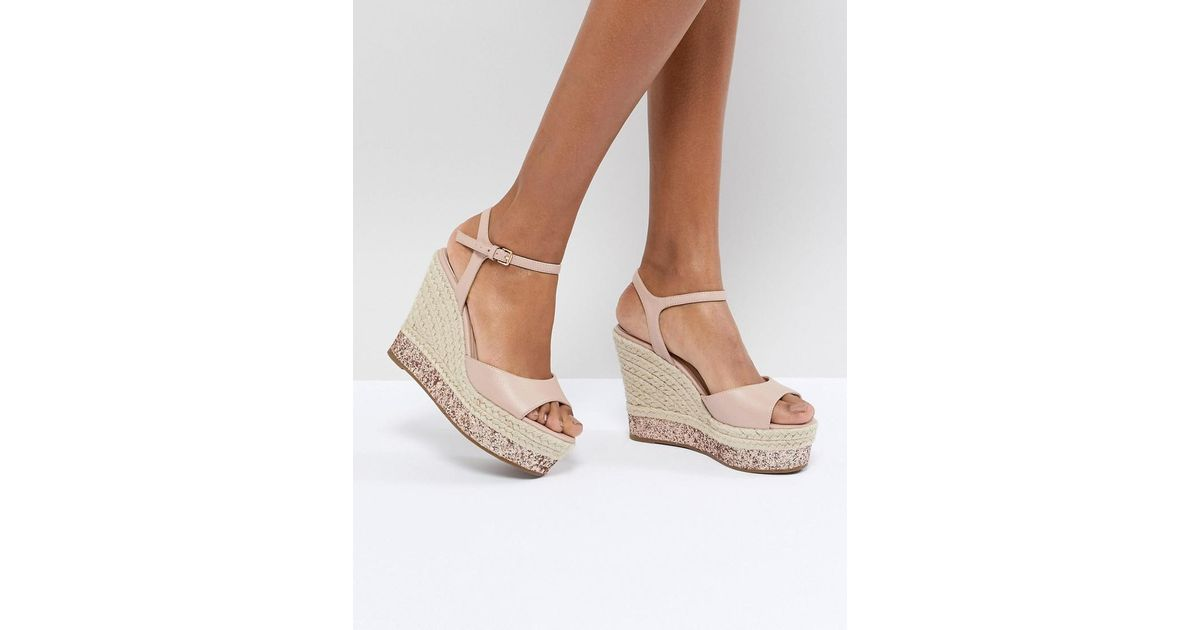 d626d400ab05 Faith Liddy Pink Glitter Espadrille Wedges in Pink - Lyst