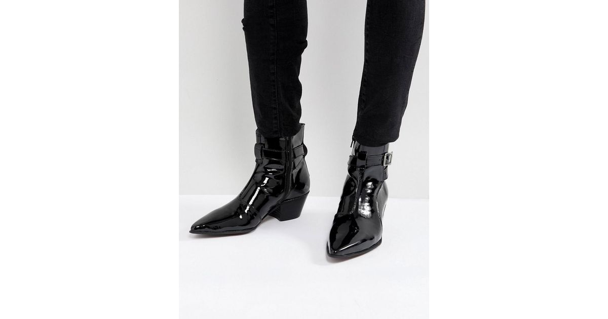 b1c7555000 ASOS Asos Chelsea Boots In Black Patent Leather With Cuban Heel in Black  for Men - Lyst
