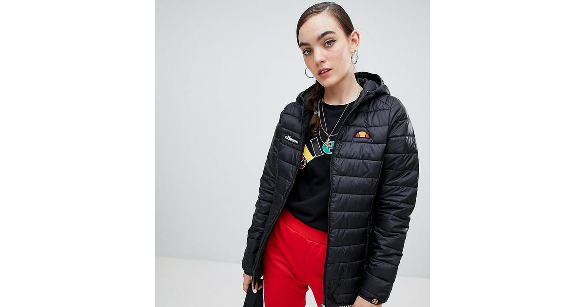 80154a66 Ellesse - Black Zip Front Padded Jacket With Hood - Lyst