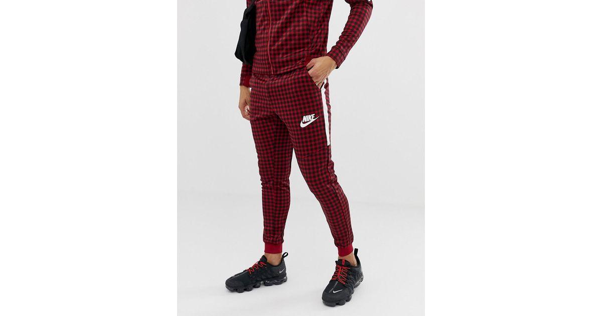 Rabatt zum Verkauf mehr Fotos preisreduziert Nike Rote Jogginghose mit Vichy-Karos, BQ0676-618 in Red für Herren