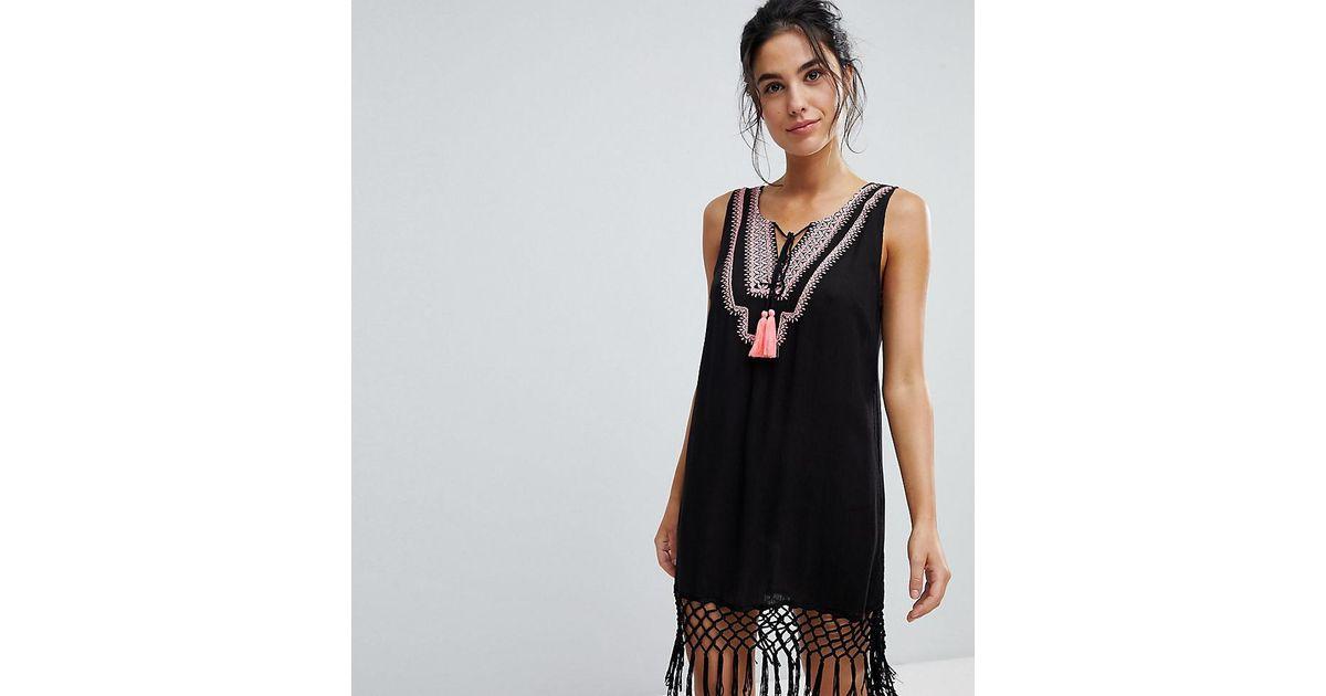 52c1f59221 Akasa Exclusive Tassel Detail Beach Dress in Black - Lyst