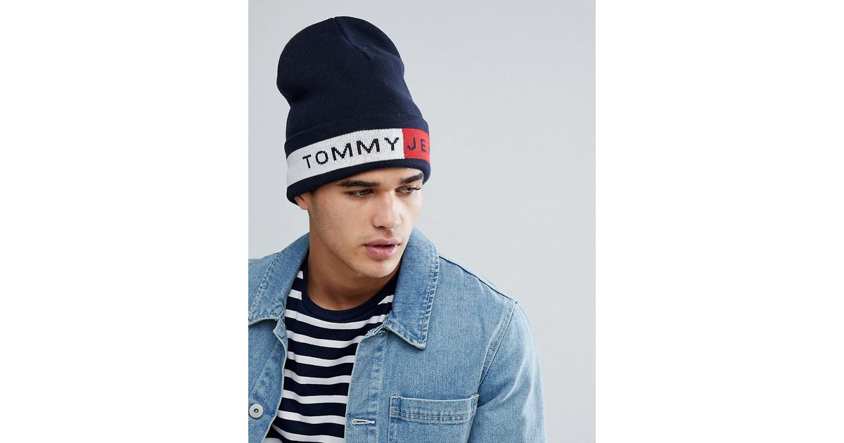59ac5360 Tommy Hilfiger Tommy Jeans Flag Logo Beanie In Navy in Blue for Men - Lyst