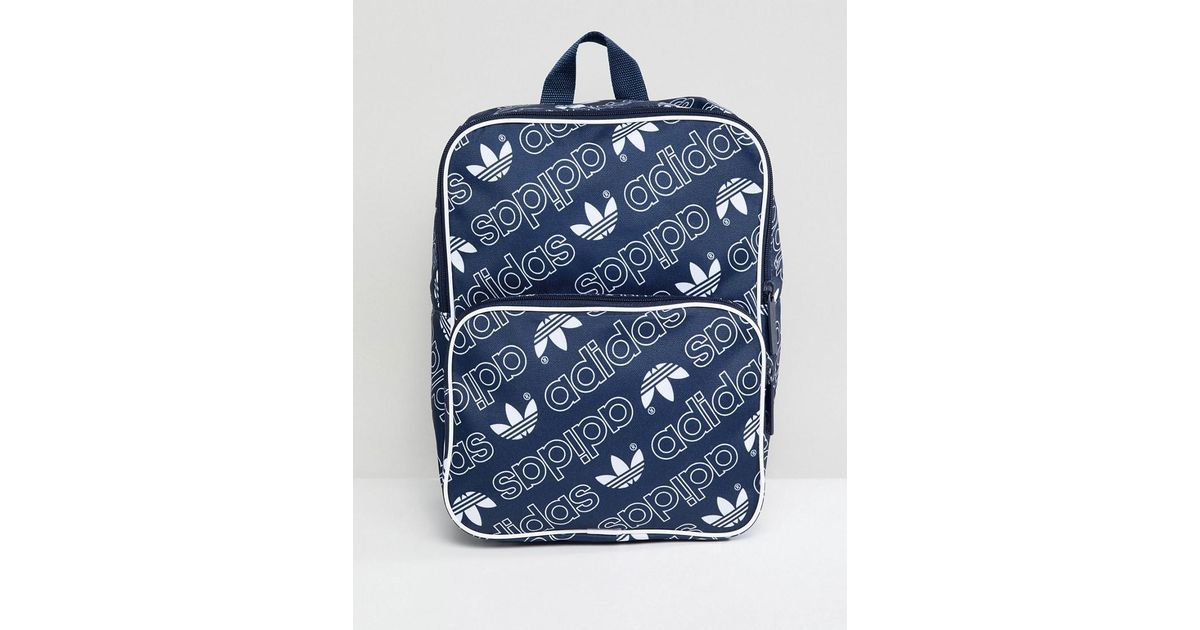 2d7b94fab4 adidas Originals Classic Medium Backpack In All Over Logo in Black - Lyst