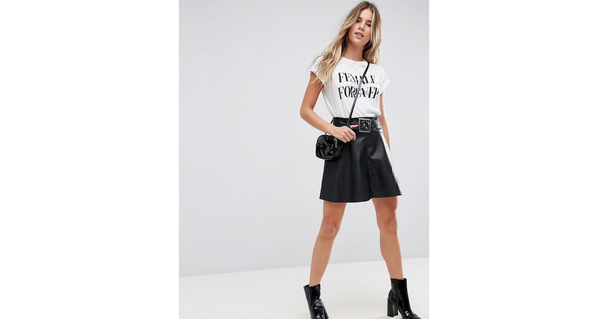 asos leather look mini skater skirt with belt detail in