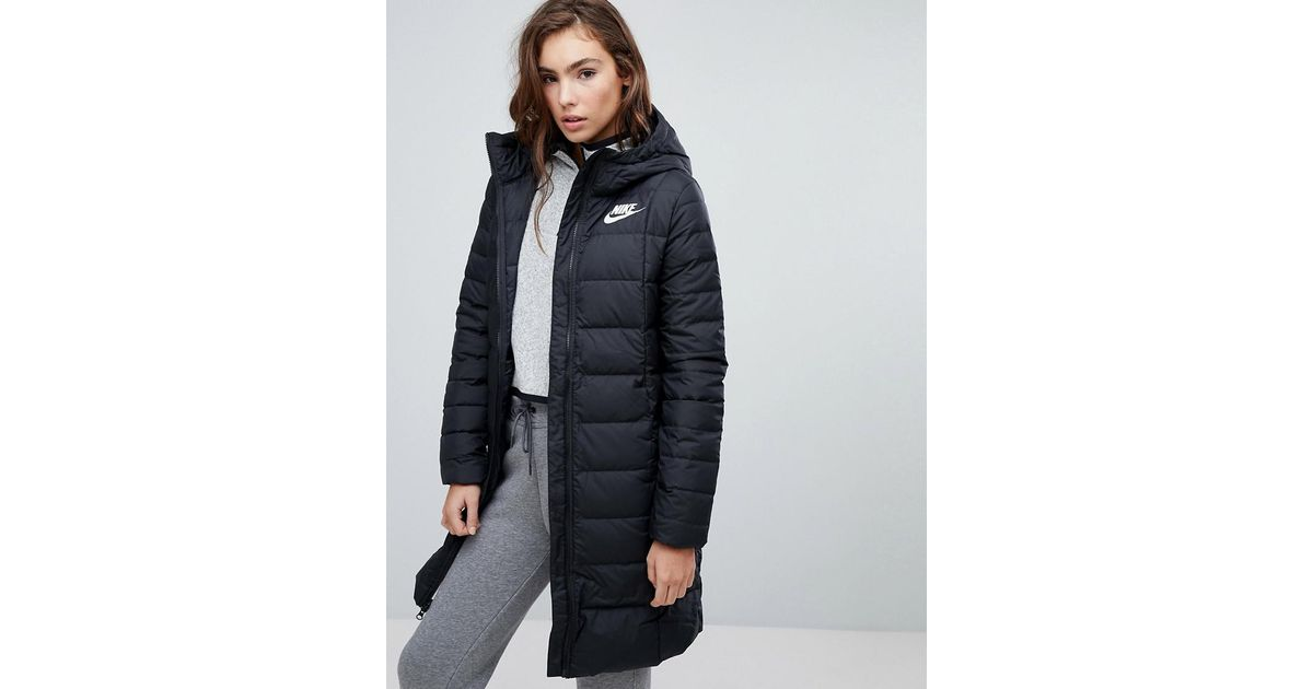 c418a675 Nike Down Filled Long Padded Parka Jacket in Black - Lyst