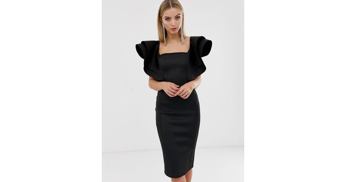 Double Alice Signature In Scuba Lavish Sleeve Frill Black Dress Lyst CBQxsrohdt
