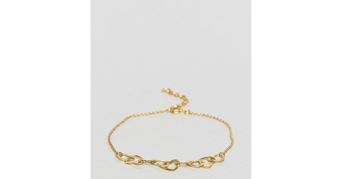 Lyst Asos Gold Plated Sterling Silver Mini Linked Hearts Bracelet In Metallic