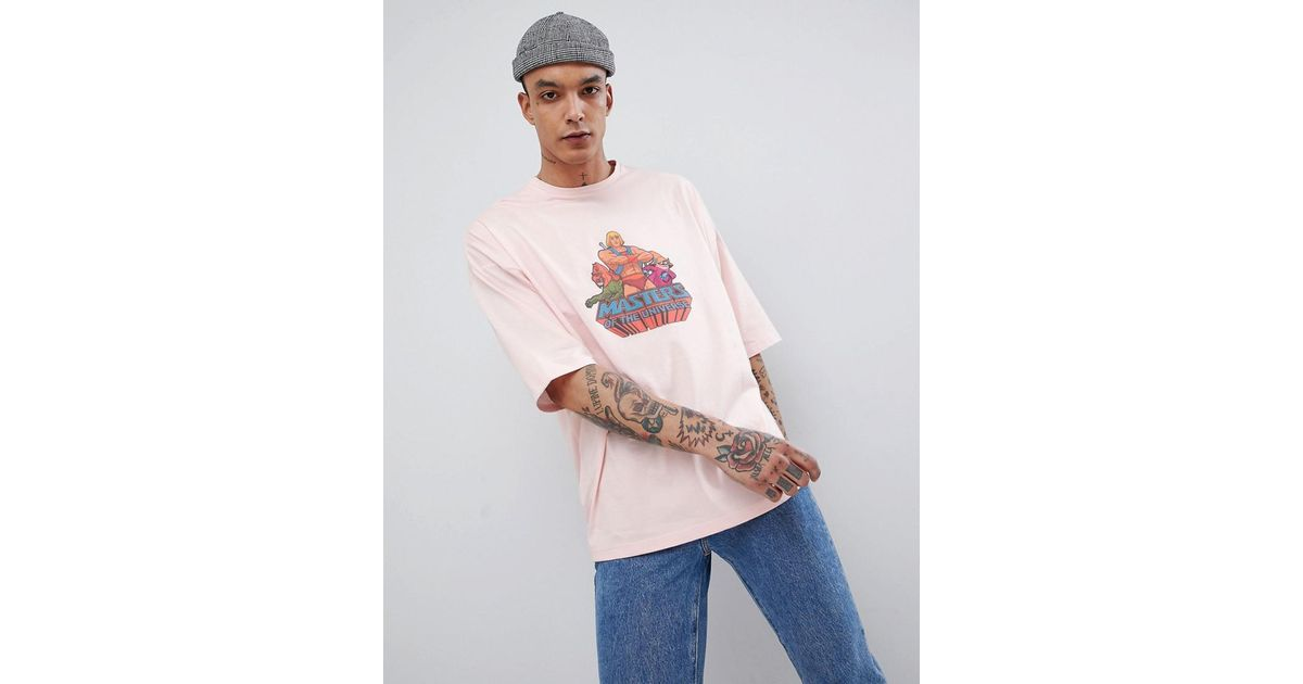 ace37b8c Lyst - ASOS Masters Of The Universe Oversized T-shirt in Pink for Men