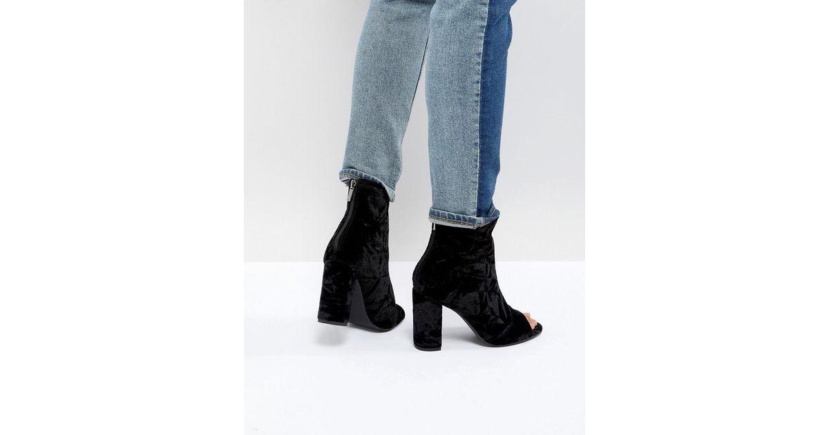 Velvet Peep Toe Block Heel Shoe Boot - Black New Look SkOWW0phsB