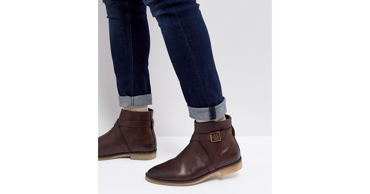 free shipping prices ASOS Wide Fit Chelsea Boots In Brown Leather With Strap Detail And Natural Sole cheap pictures outlet under $60 amazing price cheap price KU0YcOdr