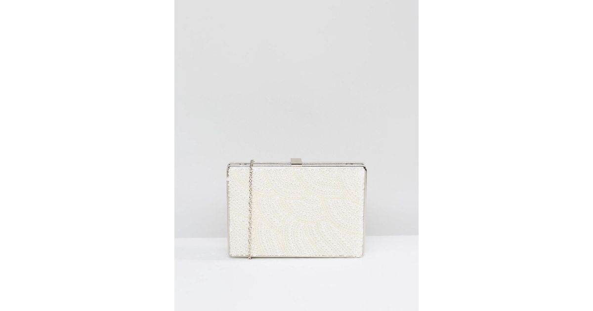 Pearl Embellished Structured Clutch Bag - Pearl Claudia Canova XYQidsY27