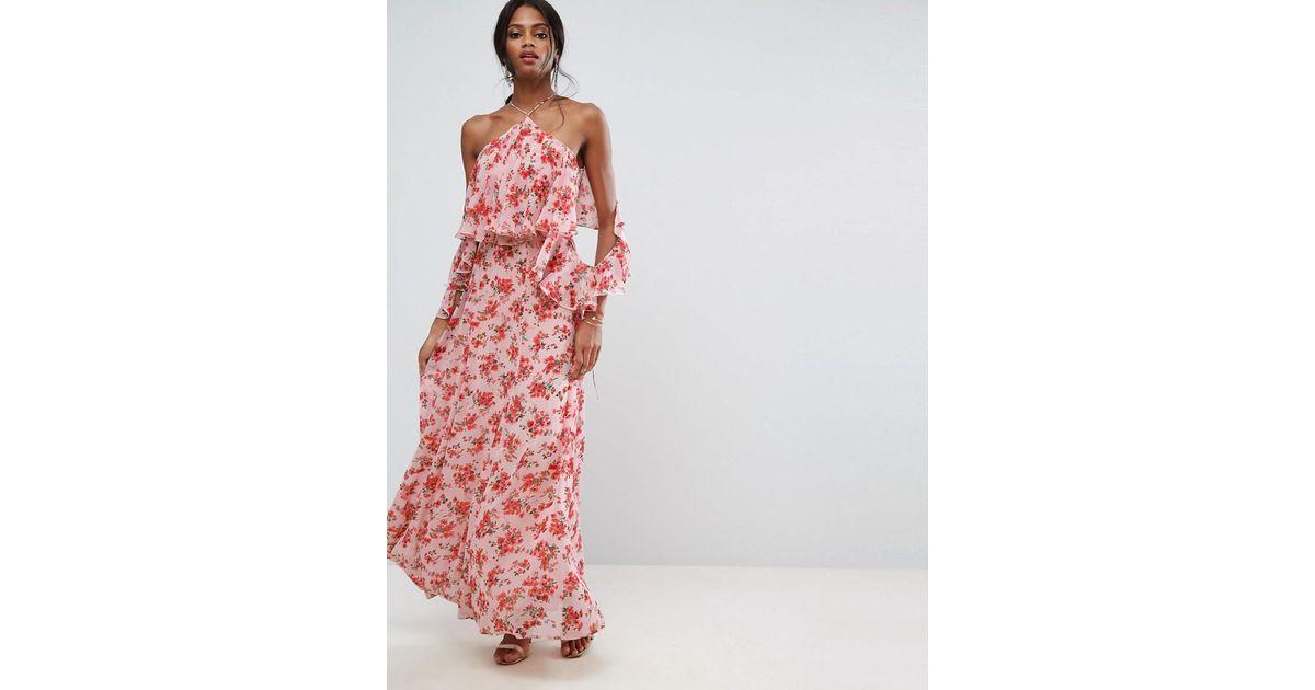 dd297795904 Lyst - Jolie robe longue à fleurs volantée sur le devant ASOS