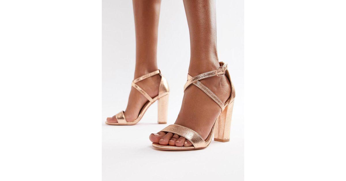 885fc343c17 Glamorous Metallic Cross Strap Block Heel Sandals In Rose Gold in Metallic  - Lyst