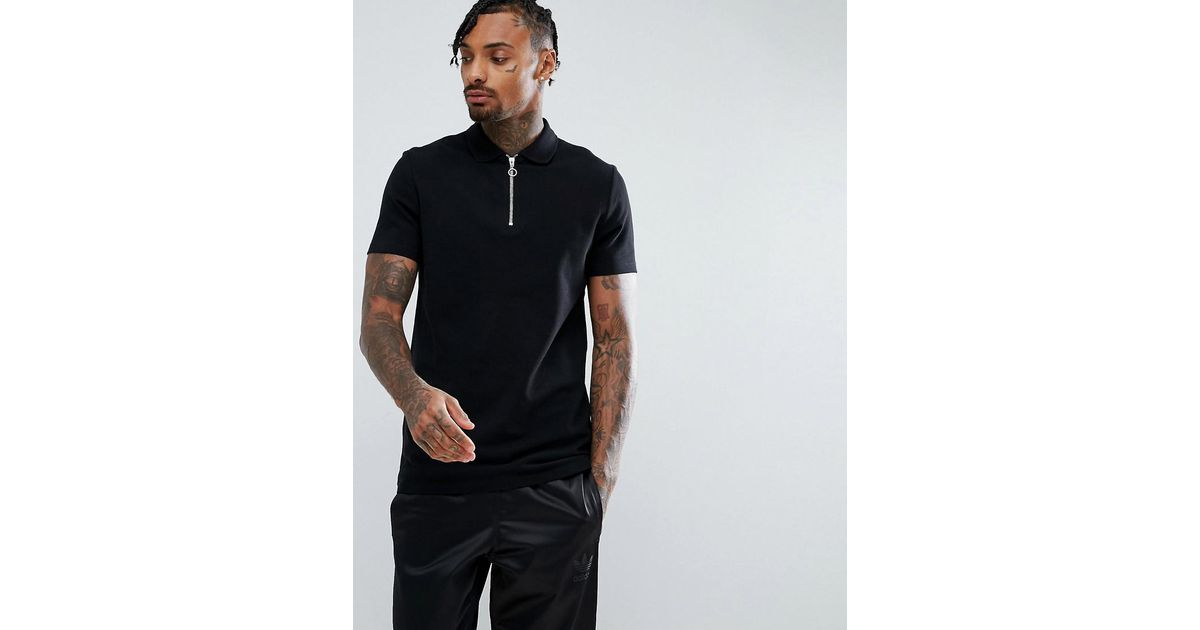 96642985638 Asos Pique Polo With Zip Neck In Black in Black for Men - Lyst