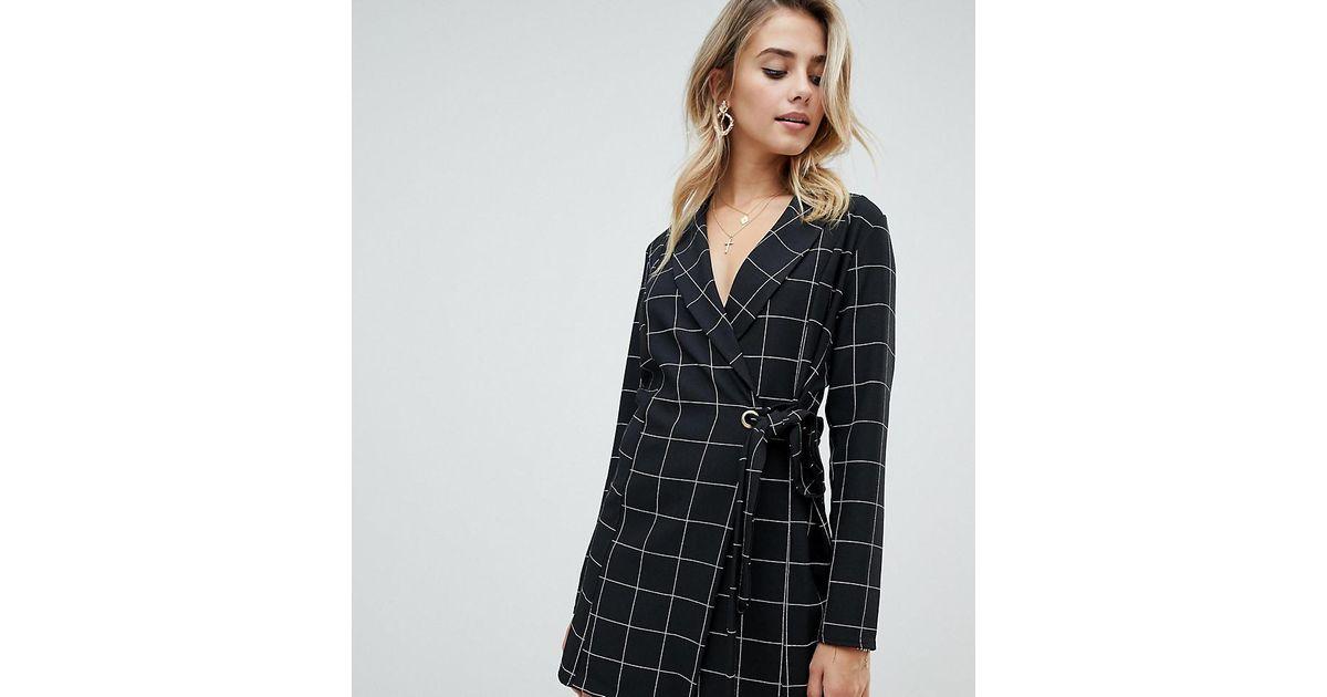 efd170c5627c PrettyLittleThing Tie Side Blazer Dress In Black Check in Black - Lyst