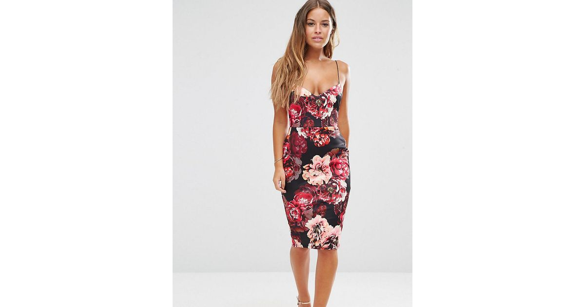 79479808534 Lyst - ASOS Floral Scuba Deep Plunge Midi Dress in Red