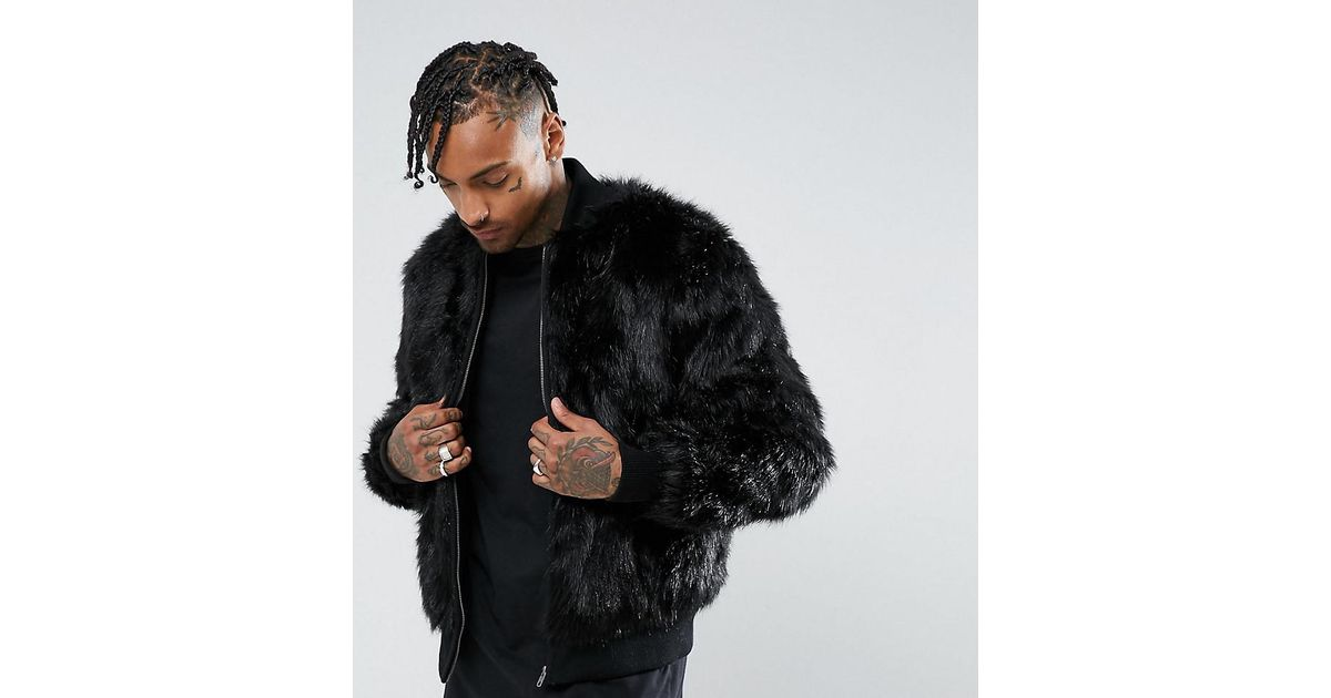 ee0f93696d9dd Lyst - The New County Bomber Jacket In Faux Fur in Black for Men