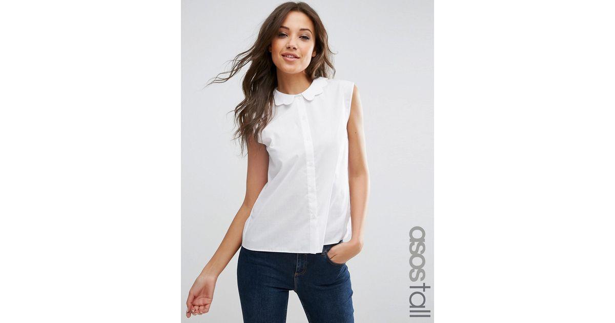 Asos tall sleeveless scallop collar white shirt in white for Sleeveless white shirt with collar