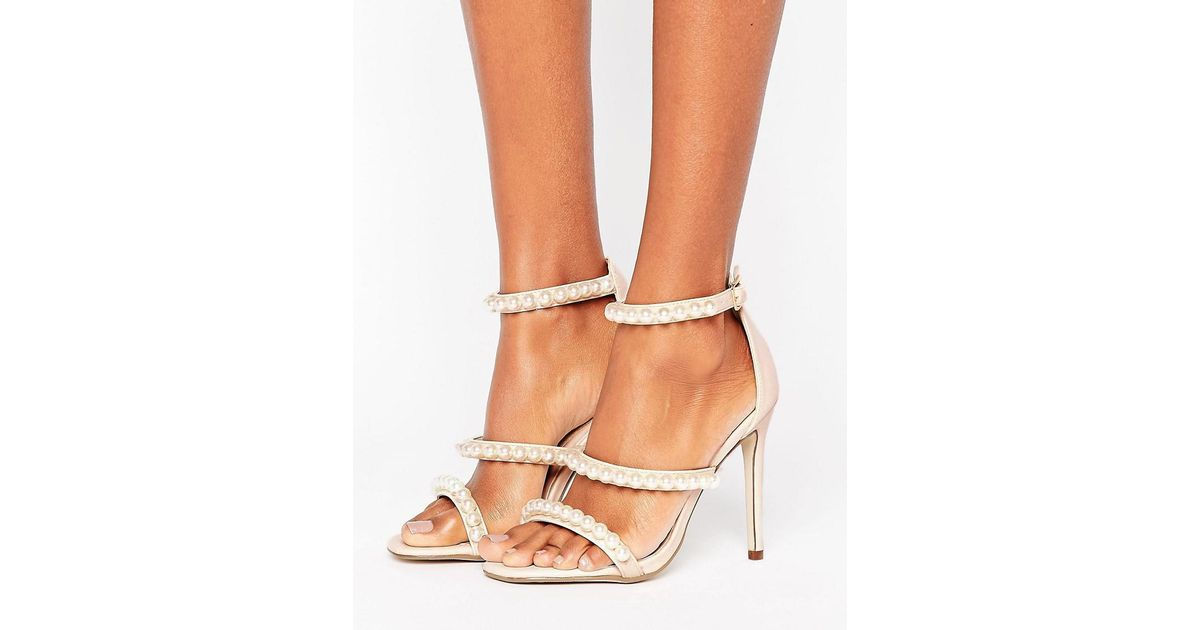 f5f6c2f0f6a Lyst - Missguided Pearl Strap Barley There Heeled Sandal in Natural