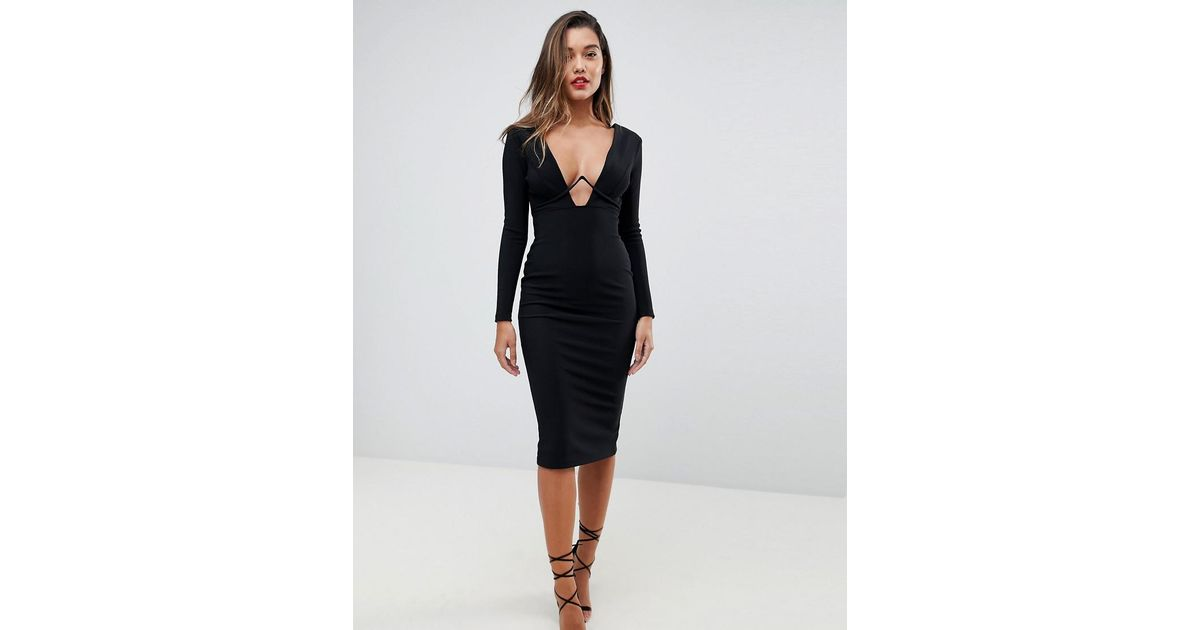 0112565818a ASOS Asos Long Sleeve Exposed Underwire Bodycon Midi Dress in Black - Lyst