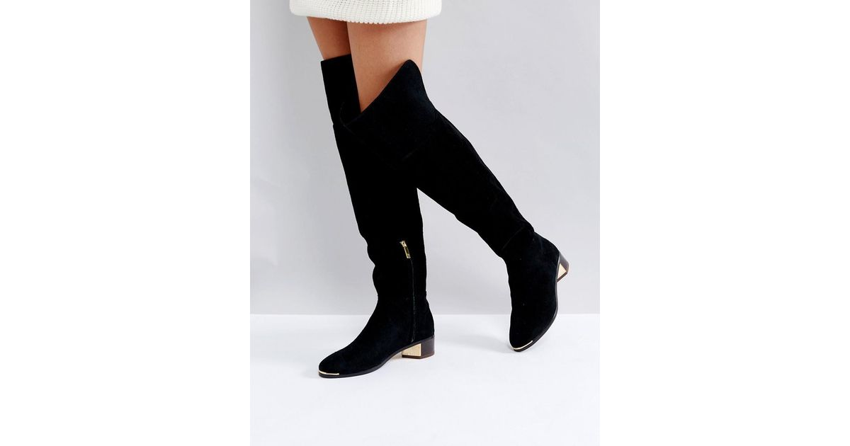 f6d5f408919e Lyst - Ted Baker Nayomie Black Suede Over The Knee Boots in Black