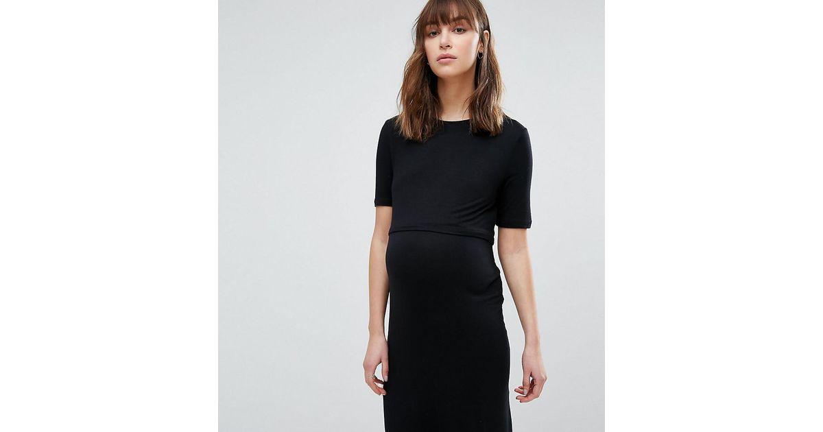 3c7368ecd4f Lyst - New Look Double Layered Nursing Dress in Black