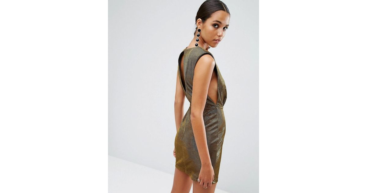 3d2ac924df Asos Night Shoulder Pad Low Armhole Metallic Mini Dress in Metallic - Lyst