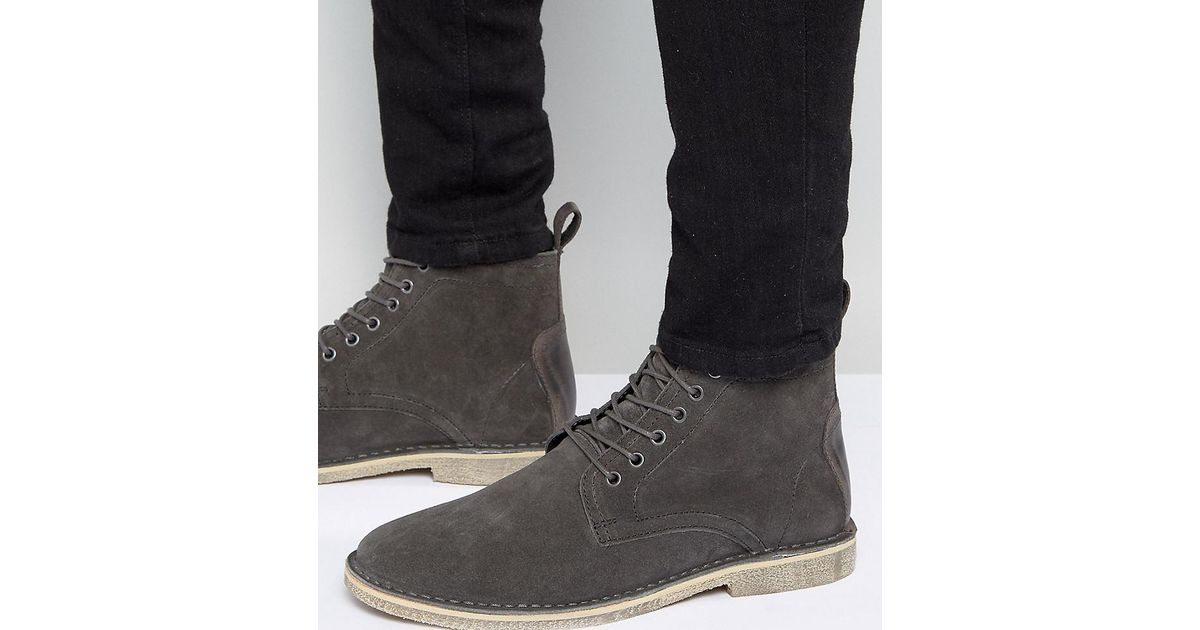 ASOS Wide Fit Desert Boots In Leather With Perforated Detail PsRZFPt