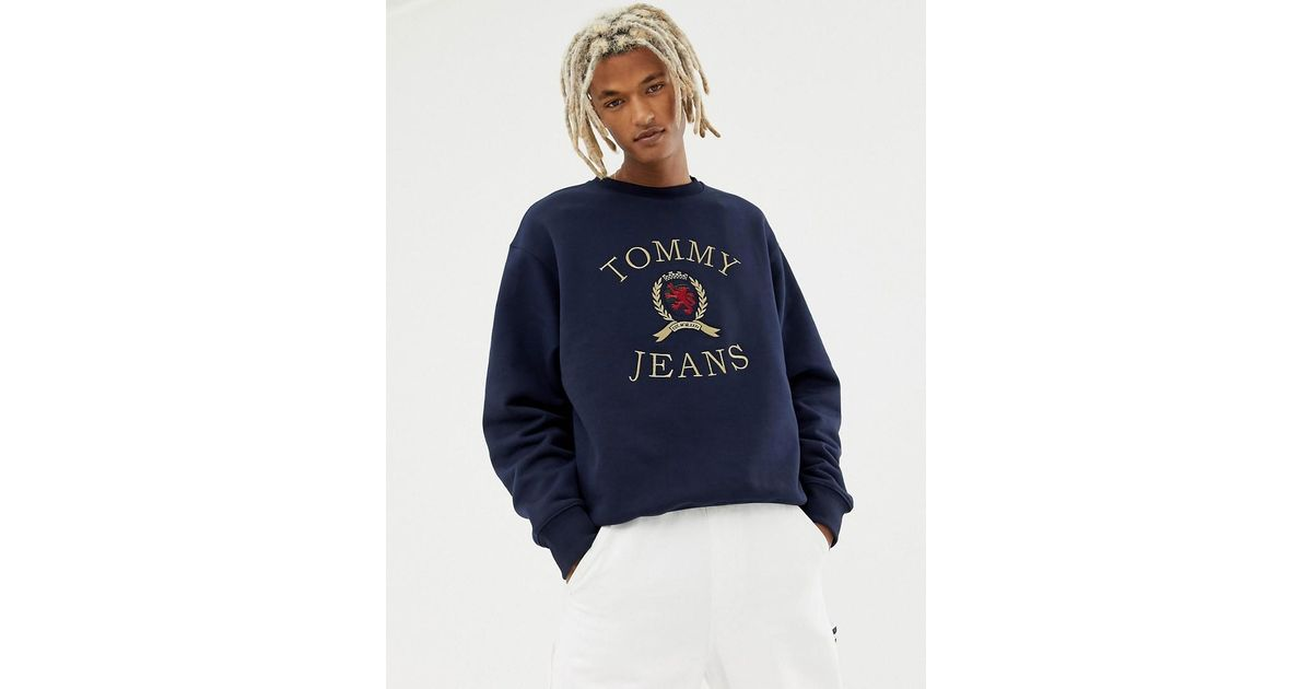 acbe39a57 Tommy Hilfiger 6.0 Limited Capsule Crew Neck Sweatshirt With Crest Logo In  Navy in Blue for Men - Lyst