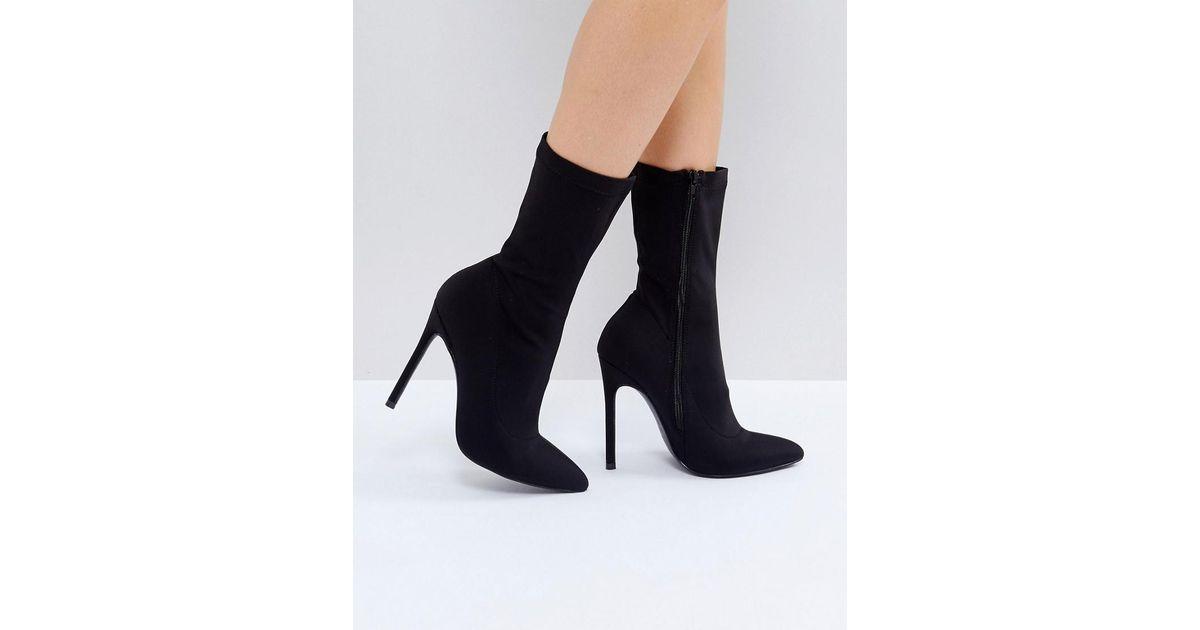 5de6f78a912 Truffle Collection - Black Stiletto Sock Boot - Lyst