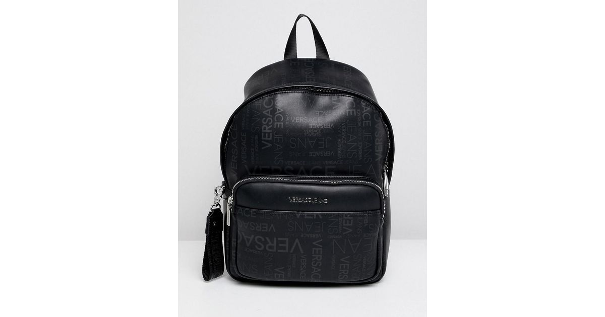 529a381f6d66 Lyst - Versace Jeans Backpack In Black In Repeat Logo Print in Black for Men