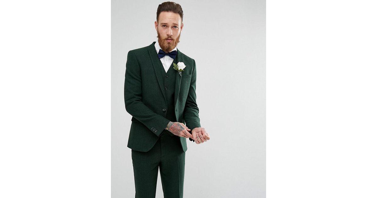 5e3f45b93beb1f ASOS Asos Wedding Skinny Suit Jacket In Forest Green Herringbone in Green  for Men - Lyst
